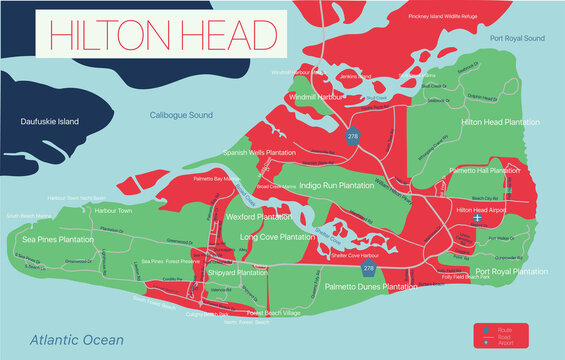 Hilton Head detailed editable map with with, geographic sites, roads and streets. Vector EPS-10 file, trending color scheme