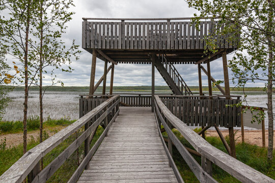 Wooden tower for observation of birds on the marshy shore of Oulujarvi lake, Kainuu region in Finland