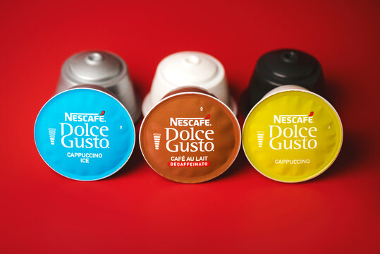 closeup of Nescafe Dolce Gusto capsules,cappuccino ice,cafe aulait,cappuccino.Selective focus
