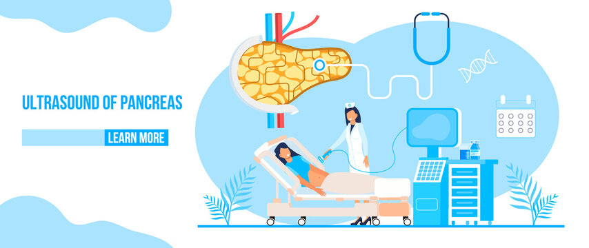 Ultrasound of pancreas doctors examine, treat pancreatitis. Stethoscope, calendar are on blue background. Health care flat concept for landing page, website