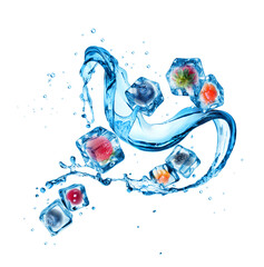 Fototapete - Splash of water with different berries in ice cubes
