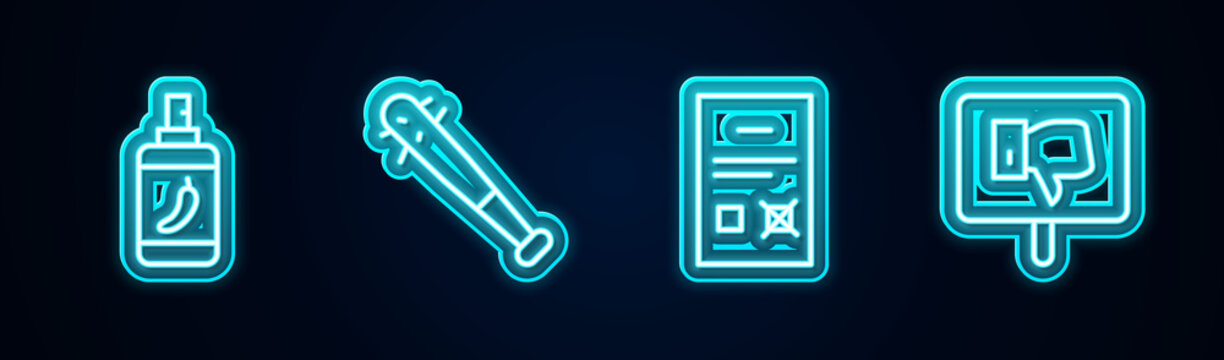 Set line Pepper spray, Baseball bat with nails, Poll document and Protest. Glowing neon icon. Vector.