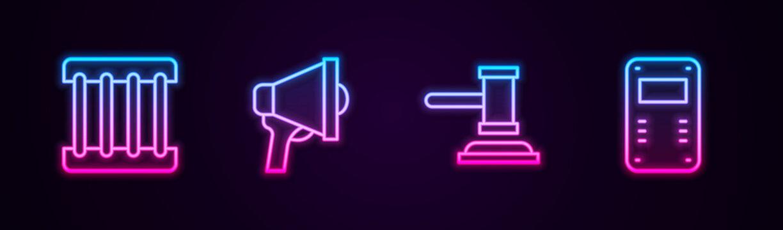 Set line Prison window, Megaphone, Judge gavel and Police assault shield. Glowing neon icon. Vector.