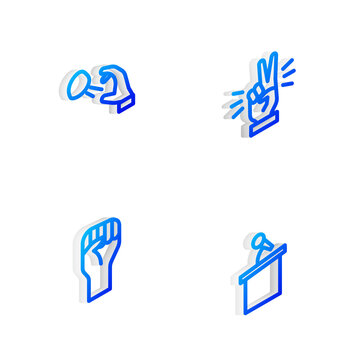 Set Isometric line Hand showing two finger, Hooligan shooting stones, Raised hand with clenched fist and Stage stand or tribune icon. Vector.