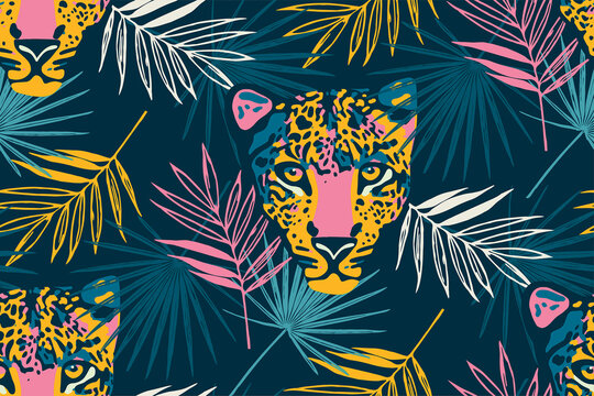 Tropical seamless pattern with palm leaves and leopard.