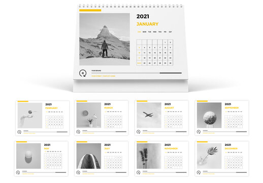 Minimal Desk Calendar 2021 Layout