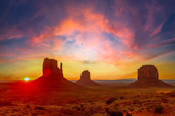 Monument Valley National Park at the Visitor Center at Orange Sunrise, Utah. United States
