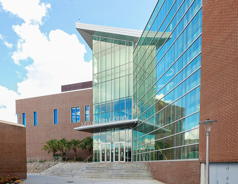 The renovated John C. Hitt Library located at the University of Central Florida in Orlando, Florida, USA.   The library was named after the 4th UCF president.