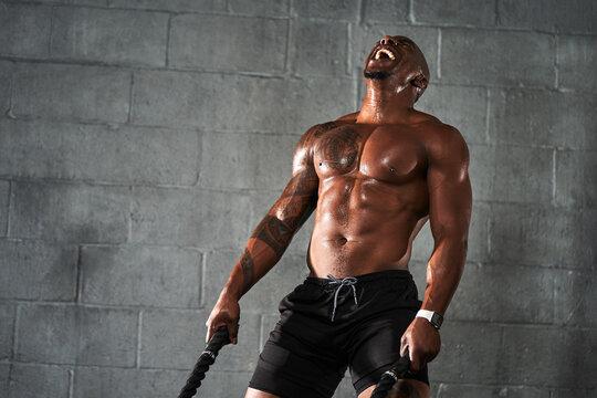 Portrait of man doing strength training