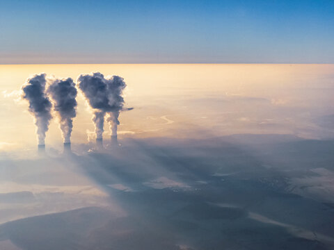 Nuclear Power Plant in crepuscular fog