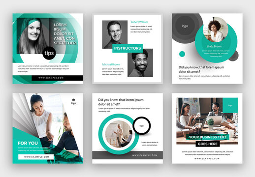 Business Social Media Post Layouts with Teal Accents