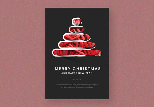 Merry Christmas Card Layout with Tree Illustration