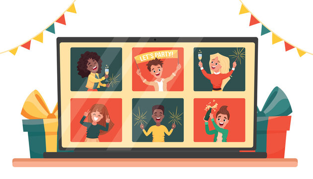 Online virtual house party. Diverse people dancing and chatting celebrating the holiday on via video call. Friends meeting up online. Vector cartoon flat illustration