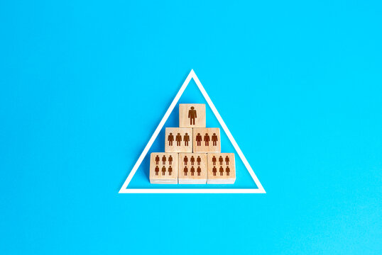 Blocks pyramid symbolizes the hierarchy of society / company organization model. Conformism system. The traditional model of power vertical. Personnel management. Subordination, distribution of duties