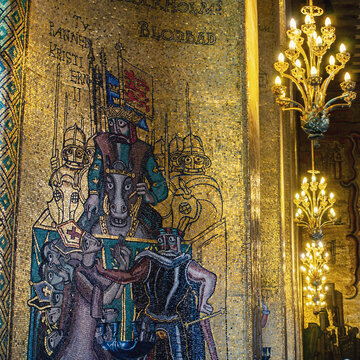 Old golden fresco in the city hall in Stockholm, Sweden