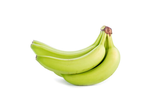 Bunch of Green Bananas With A Hint of Yellow Isolated on White Background