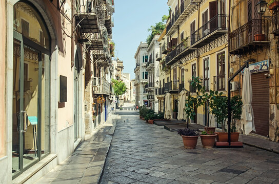 Empty street in the old town in Palermo, Italy
