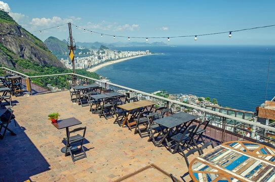 Amazing view on Ipanema form cafe in favela Vidigal, Rio de Janeiro
