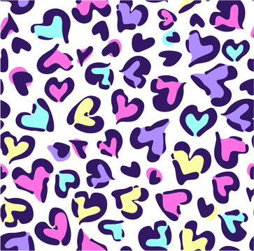 Heart animal leopard seamless multi directional tile repeat pattern