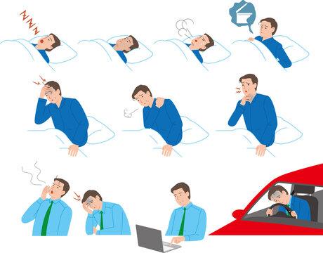 睡眠時無呼吸症候群のシニアの男性。睡眠時、起床、日中の症状