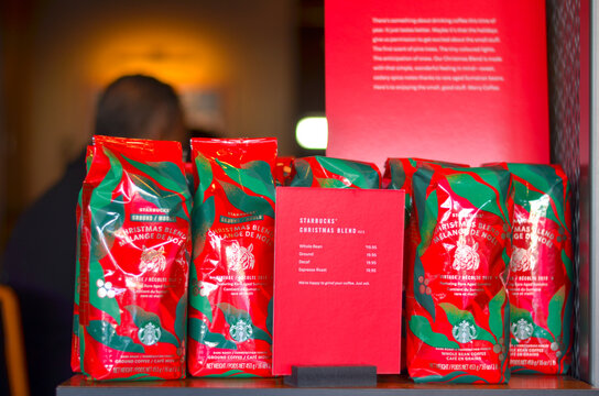 Toronto, Canada, 2010. Starbucks coffee introduces festive packaging for the winter season in Christmas colors of green and red. Promotional packaging concept designed for marketing in north america