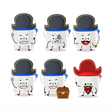Cartoon character of white appron with various pirates emoticons
