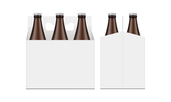 Cardboard Beer Bottle Carrier Packaging Box Mockup, Front and Side View, Isolated on White Background. Vector Illustration