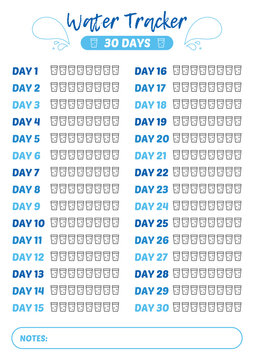 Printable A4 30 days water tracker for bullet journal or poster design. Drinking enough water, hydration challenge.