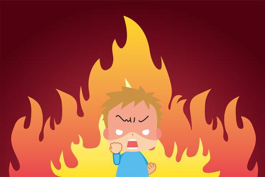 激怒のあまり握り拳を震わせて絶叫する小さな男の子と燃え盛る炎の漫画風背景