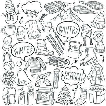 Winter doodle icon set. Wintry Vector illustration collection. Snow Banner Hand drawn Line art style.