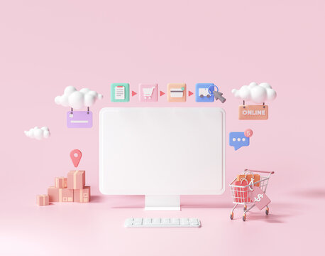 3D online shopping on web page concept. online store, 3d render illustration