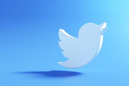 3D twitter logo on blue background, social media application. 3d render illustration