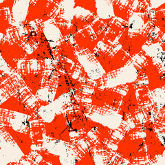 seamless abstract background composition, with paint strokes and splashes, on red