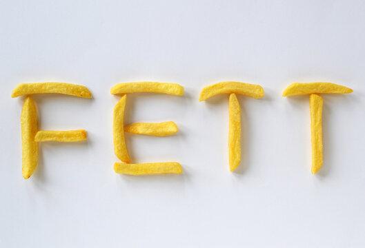 Schriftzug Fett aus Pommes Frites gebildet