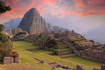 Beautiful surroundings of the interior of Machu Picchu in a beautiful summer sunrise, Peru Wall mural
