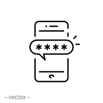 activation two-factor authentication on the phone, icon, secure maximize protect in the account, encrypted password verification, thin line web symbol on white background - editable stroke vector