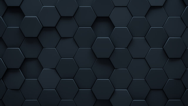 Futuristic, High Tech, dark background, with a hexagonal cellular structure. Wall texture with a 3D hexagon tile pattern. 3D render