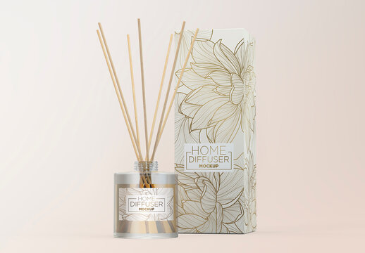 Glass Diffuser Bottle with Paper Box Mockup