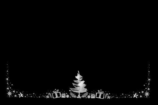 Watercolor Paint Christmas ornaments card frame Pine center and stars Silver Metallic Elegant handmade painting bush