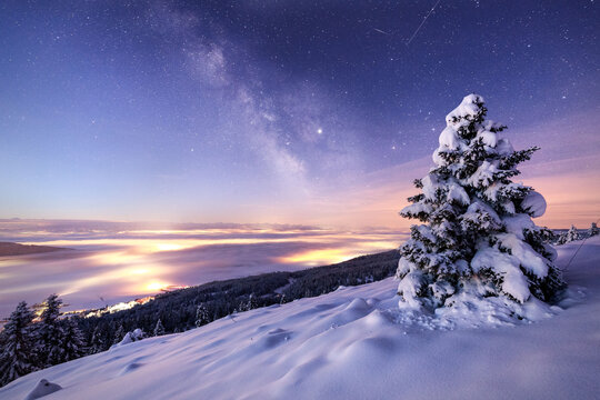 Glowing Northern lights and Milky Way in night sky over mountainous terrain with coniferous trees covered with snow in wintertime