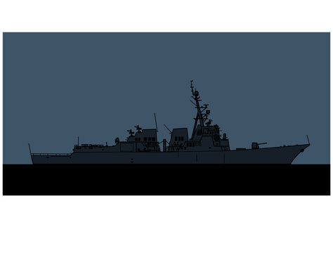 US Navy Arleigh Burke-class Flight II guided missile destroyer. Vector image for illustrations and infographics.