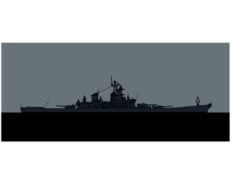 US Navy Iowa-class Battleship. Vector image for illustrations and infographics.