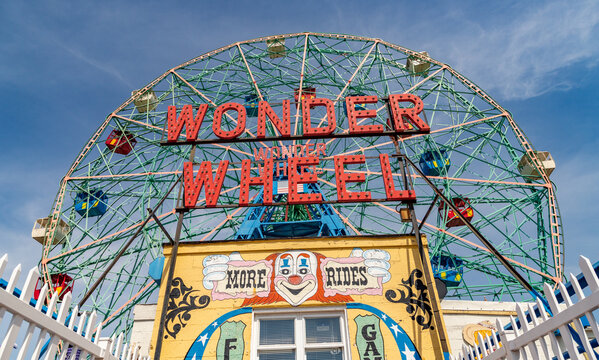 New York, United States of America - April 7, 2019: A picture of the Wonder Wheel of Coney Island.