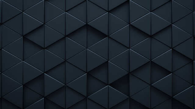 Futuristic, High Tech, dark background, with a triangular block structure. Wall texture with a 3D triangle tile pattern. 3D render