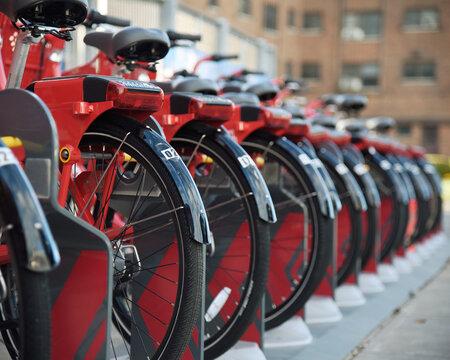 Bikeshare Bike Rack in City
