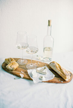 wine with fresh french bread and cheese