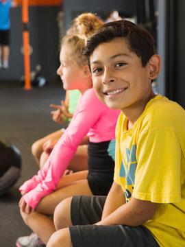 Boy smiling in gym
