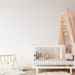 Wall mockup in child room interior. Nursery Interior in scandinavian style. 3d rendering, 3d illustration