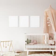 Frame mockup in child room interior. Nursery Interior in scandinavian style. 3d rendering, 3d illustration
