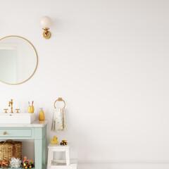 Wall mockup in bathroom room interior. Interior in scandinavian style. 3d rendering, 3d illustration
